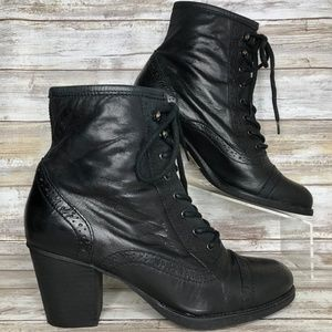 Aldo 7.5/8M Black Leather Lace Up Granny Boot